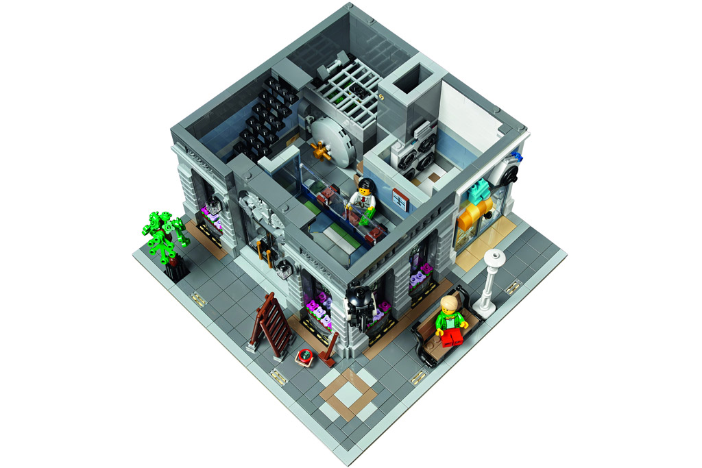 Das Innenleben einer Bank nebst Kasse und Tresor | © LEGO Group