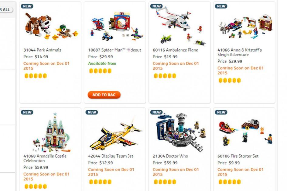 Neue Lego Sets ab dem 1. Dezember | © LEGO Group/ Screenshot shop@home US