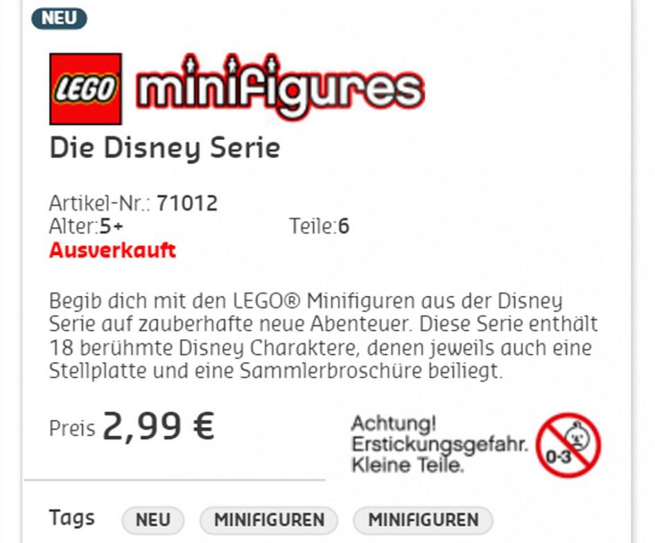 Ausverkauft | © Screenshot lego.de