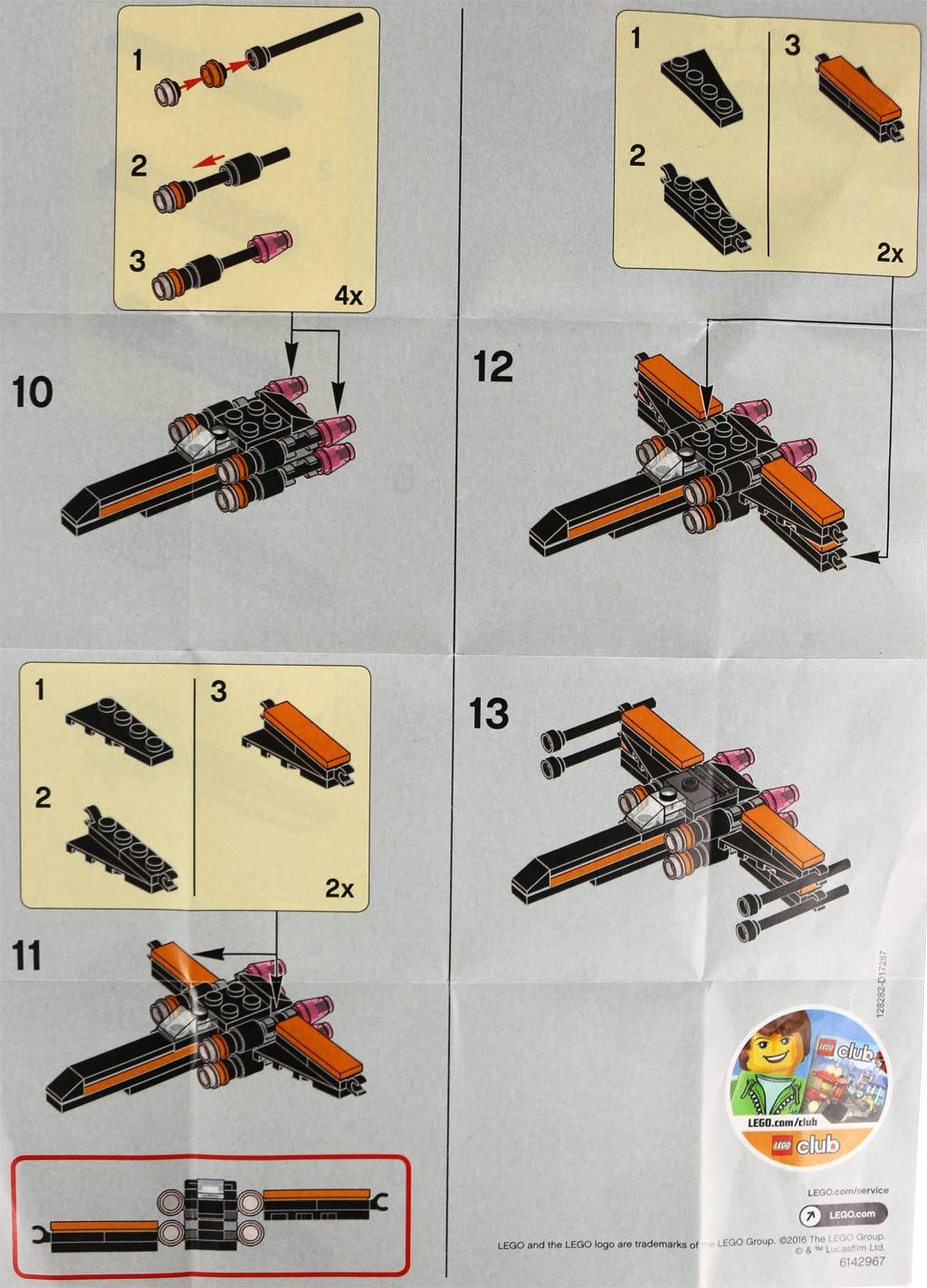 Bauanleitung, zweite Seite: Lego Star Wars Poe's X-Wing Fighter (30278) | © zusammengebaut.com