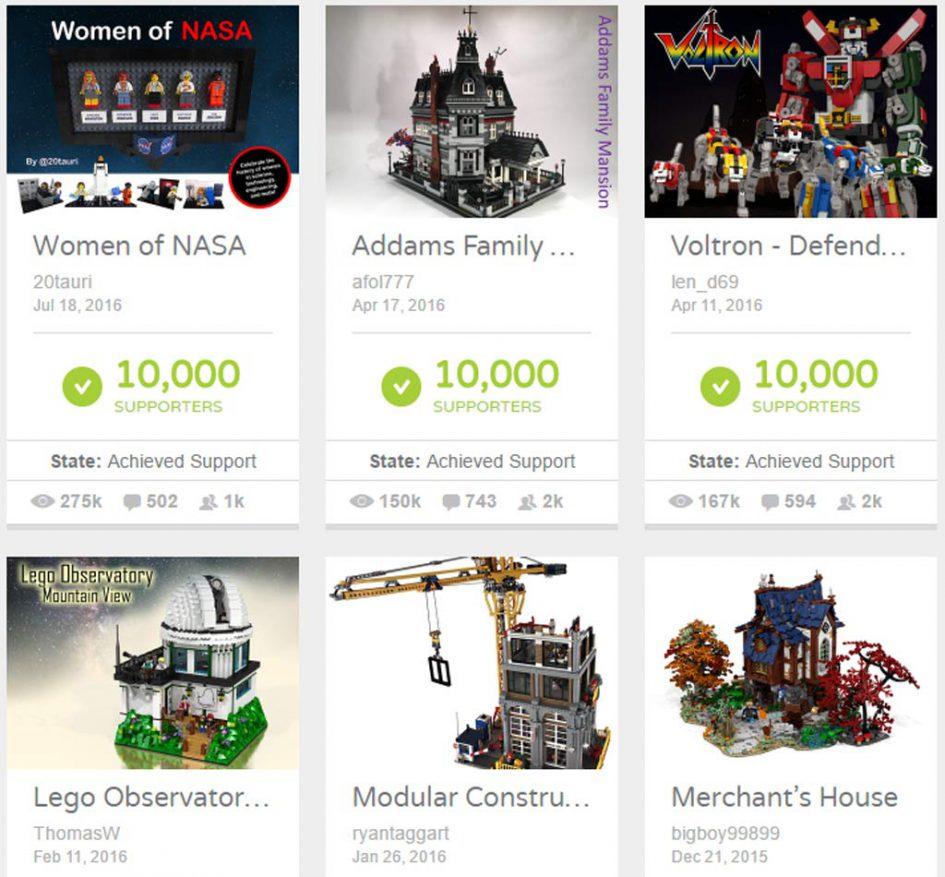 Einige der Projekte, die 10.000 Untersützerstimmen eingeheimst haben   © LEGO Ideas