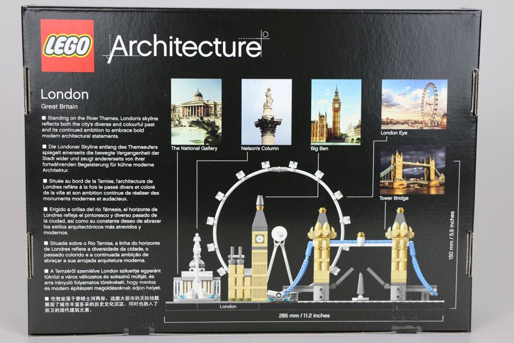 LEGO Architecture London Skyline Set 21034: Rückseite mit Infos zu den Bauwerken | © Andres Lehmann / zusammengebaut.com