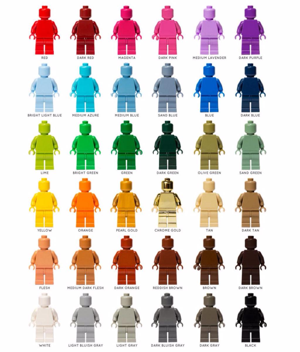 Auswahl an einfarbigen Minifiguren | © Morten Reece / monofigs.com
