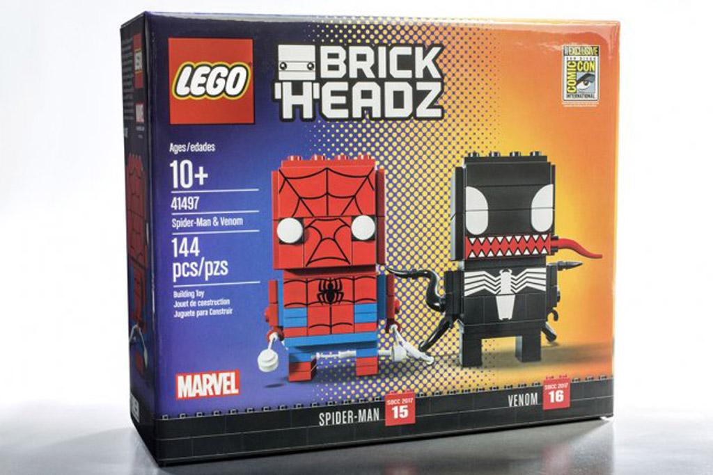 lego brickheadz spiderman amp venom 41497 san diego comic