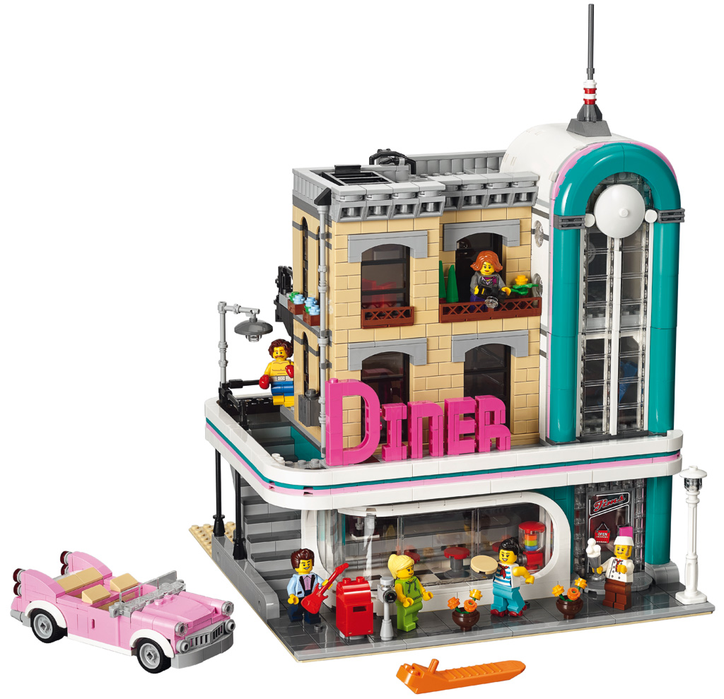 lego downtown diner 10260 modular building 2018. Black Bedroom Furniture Sets. Home Design Ideas