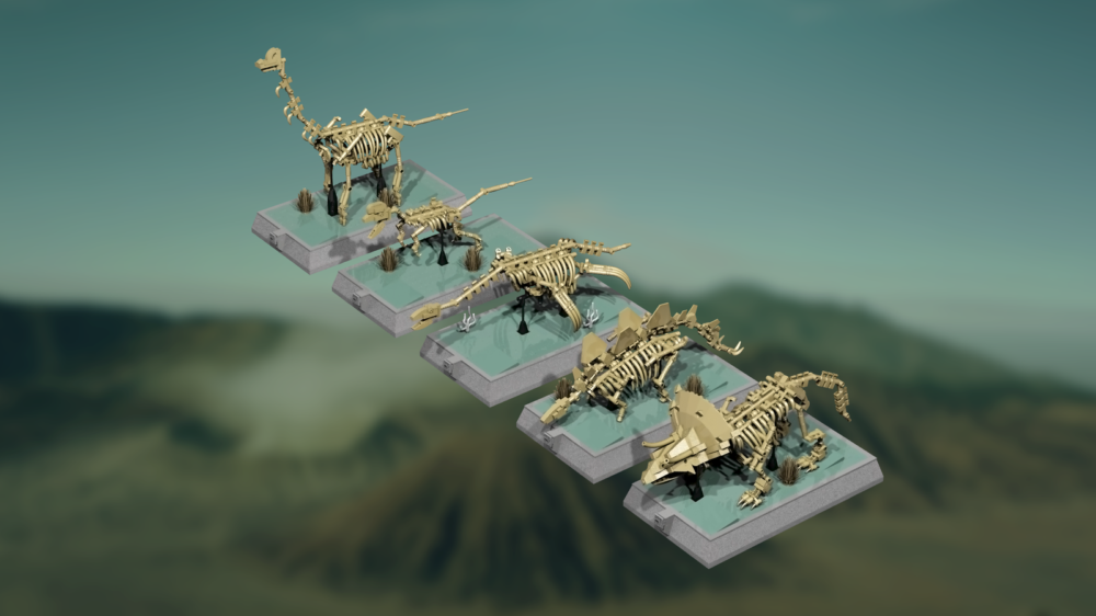 lego ideas dinosaurs fossils skeletons natural history collection draufsicht mukkinn