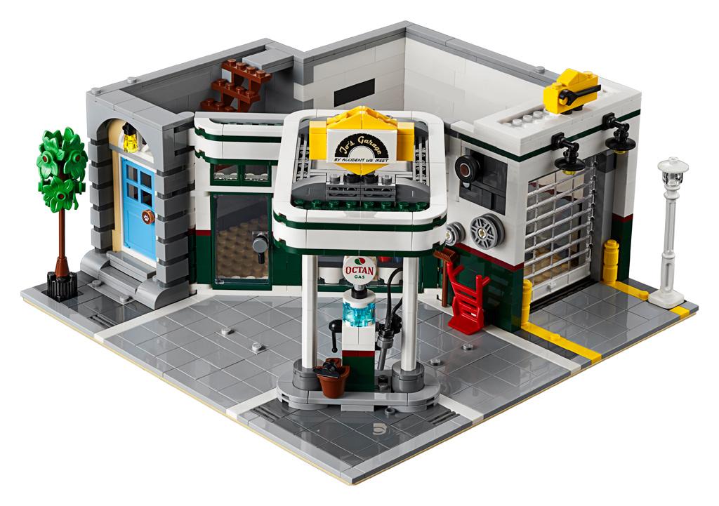 lego-creator-expert-eckgarage-10264-corner-garage-2019-modular-building-tankestelle-uebersicht-front zusammengebaut.com