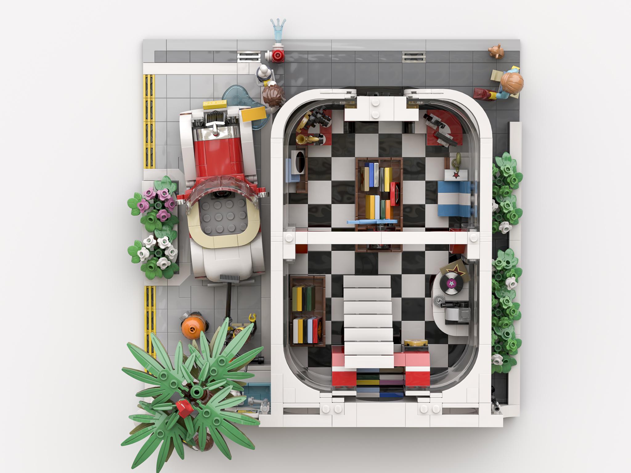 lego-ideas-the-car-wash-e-gitarre-music-store-innenleben-bricky-brick zusammengebaut.com