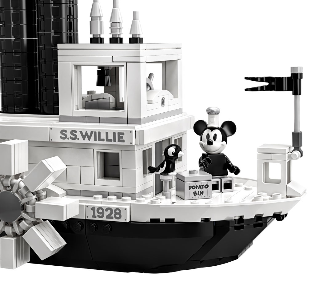 lego-ideas-steamboat-willie-set-21317-disney-mickey-mouse-damper-front-ansicht zusammengebaut.com