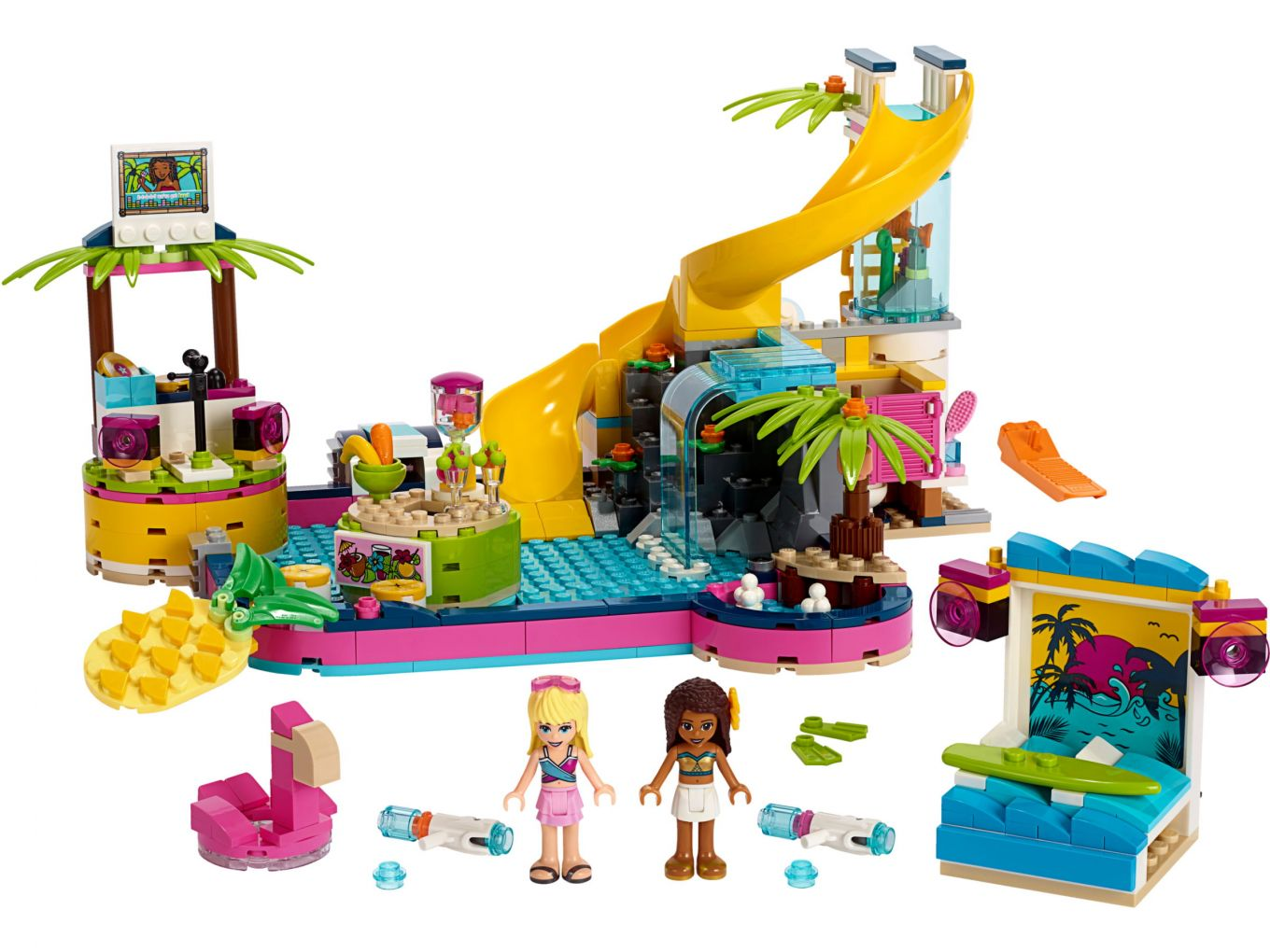 lego-friends-andreas-pool-party-41374-inhalt-2019 zusammengebaut.com