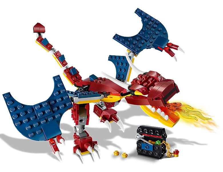 31102-lego-creator-fire-dragon-feuerdrache-2020-inhalt-1 zusammengebaut.com