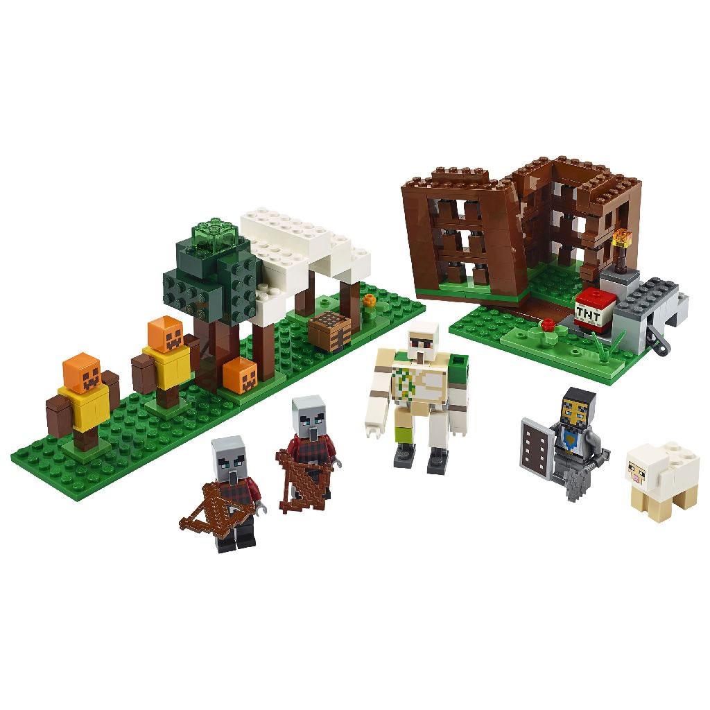 21159-lego-minecraft-raider-outpost-inhalt-2020 zusammengebaut.com