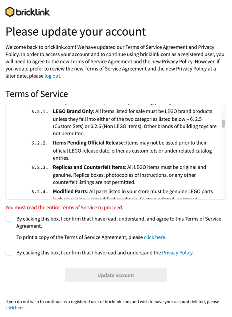 BrickLink Terms Of Service bestätigen