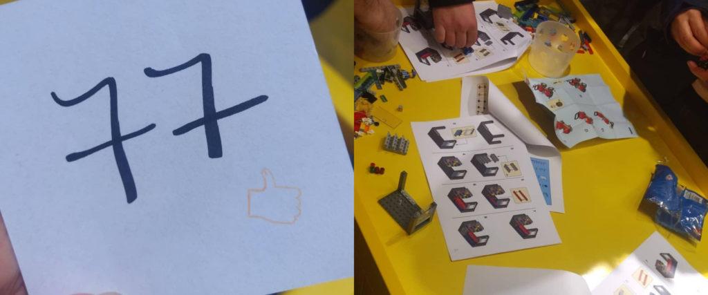 Wartenummer und Aufbau im LEGO-Store Köln
