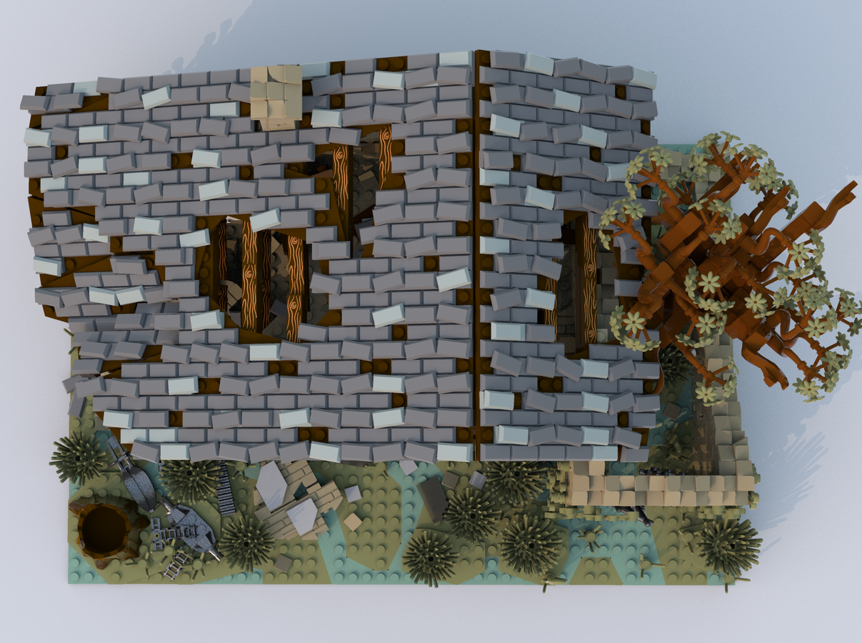 lego-ideas-house-ruined-seite-kirteem-dach zusammengebaut.com
