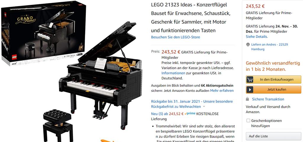 LEGO Ideas 21323 Konzertflügel bei Amazon