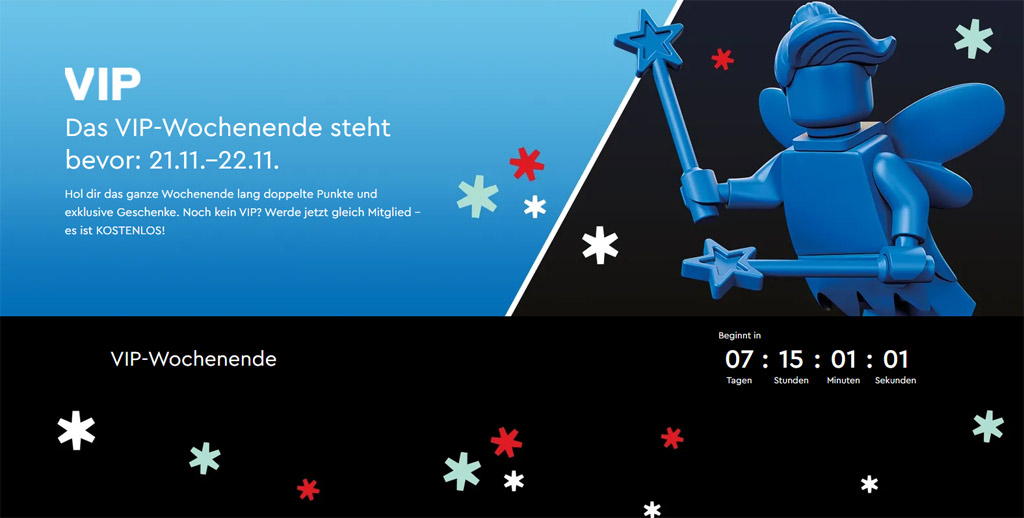LEGO Online Shop und LEGO Stores VIP-Wochenende am 21. und 22. November