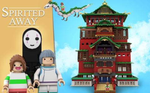 LEGO Ideas Chihiro, Ohngesicht und Haku neben Badehaus