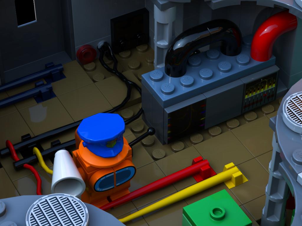 Orangene Figur verbindet gelbe und rote Kabel korrekt in LEGO Among Us