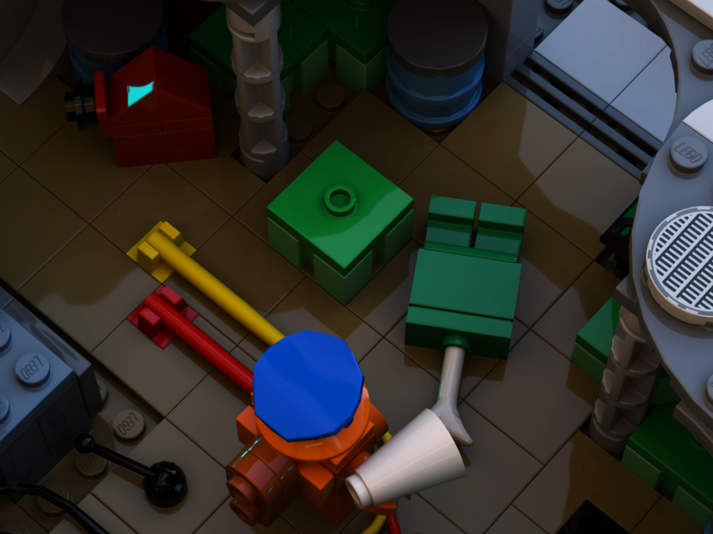 Grüner Körper liegt am Boden bei LEGO Among Us
