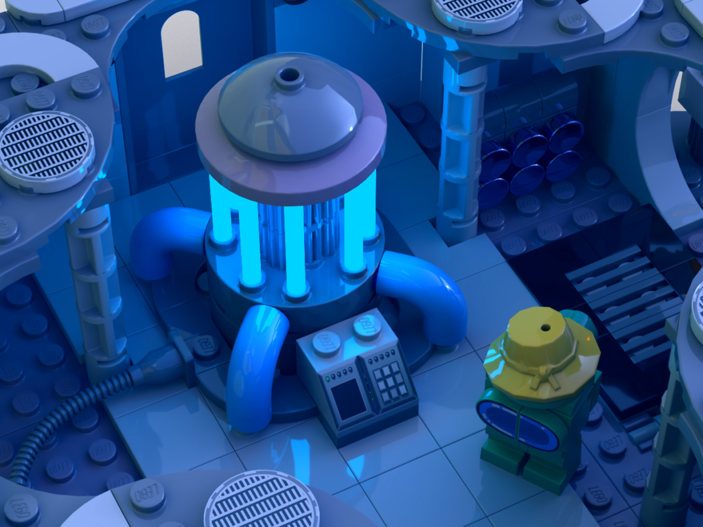 Reactor-Raum bei Among Us mit gelber Minifigur