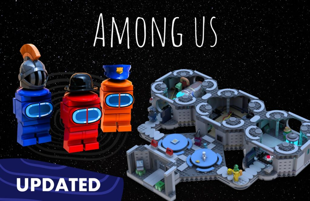 """Drei Minifiguren (""""Crewmates"""") und die Karte """"The Skeld"""" aus Among Us"""