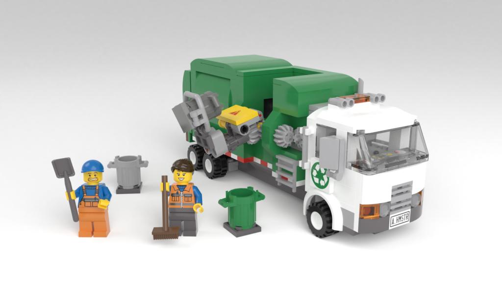 Vollständiger Umfang der LEGO Ideas Müllabfuhr samt Minifiguren und Mülltonnen