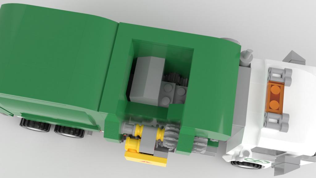 LEGO Ideas Müllabfuhr: Müll wird zusammengepresst
