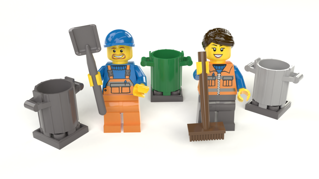 Zwei Minifiguren und drei Müllbehälter in unterschiedlichen Farben