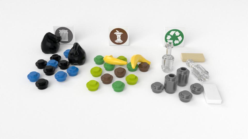 Restmüll, Biomüll und Verpackungsmüll aus LEGO nebeneinander