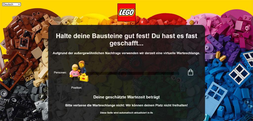 Neue Warteschleife im LEGO Online Shop