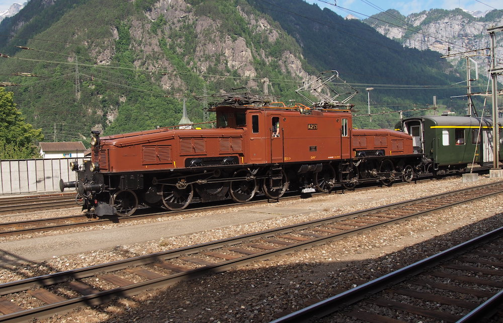 Foto einer originalen Krokodil-Lokomotive in Berglandschaft