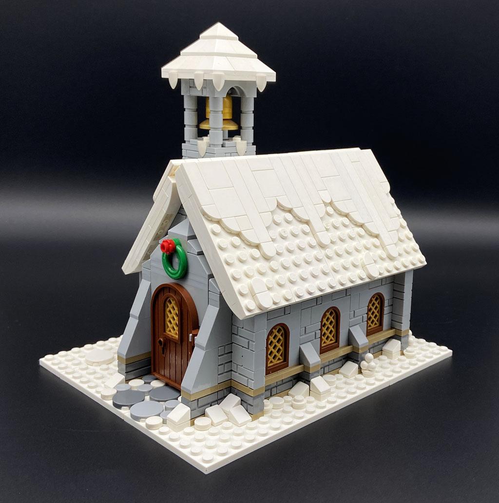 LEGO MOC Stein auf Stein Bergkapelle Mountain Chapel Seitenansicht