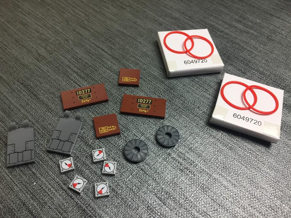 Bedruckte Steine sowie Gummis für die Räder vom LEGO Krokodil