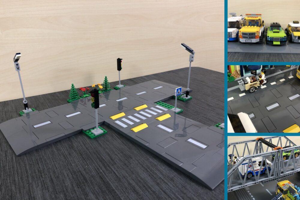 Aufgebautes Set der LEGO Straßenplatten sowie drei Verwendungsbilder