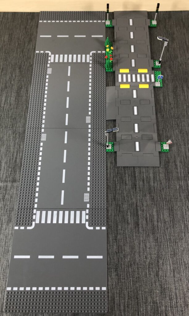 Links: Alte Straßenplatten, rechts: neue Straßenplatten