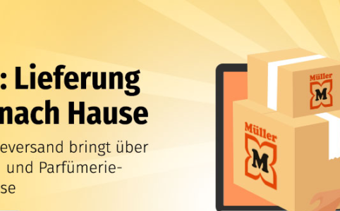 """Banner von müller.de: """"Lieferung bequem nach Hause"""""""