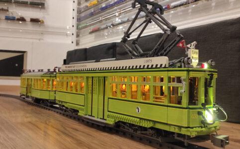 Historiche Straßenbahn in Basel als LEGO-Nachbau