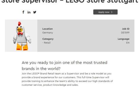 LEGO Store Stuttgart Stellenausschreibung