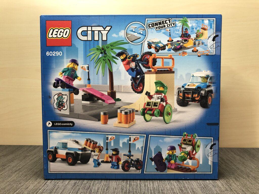 LEGO City 60290 Skatepark Box von hinten mit allen Funktionen