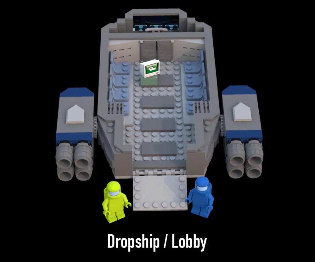 LEGO Among Us: Der Lobbyraum mit zwei Figuren