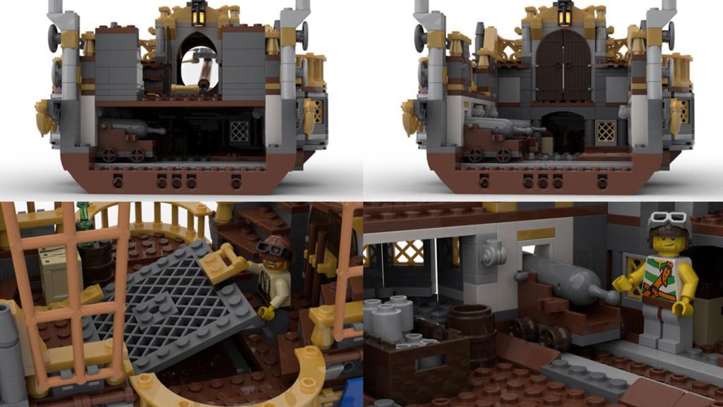 LEGO Ideas Steampunk Airship Entwurf von BrickHammer ein Querschnitt