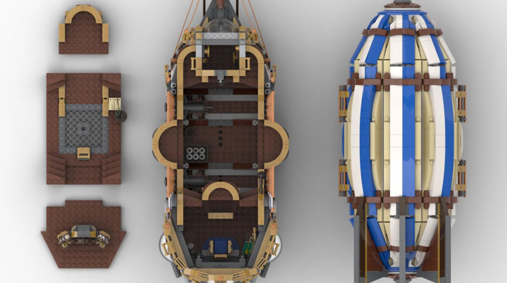 LEGO Ideas Steampunk Airship Entwurf von BrickHammer die Draufsicht