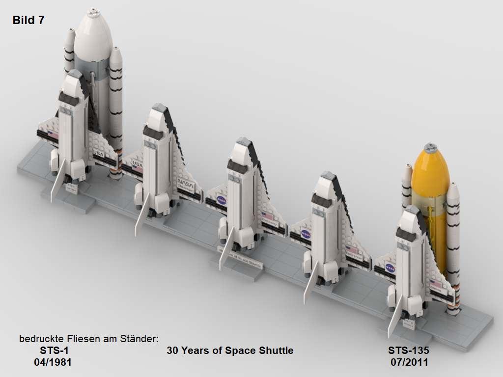 Mein LEGO MOC: Space Shuttle Projekt 1981 – 2011 mit allen eingesetzten Orbitern