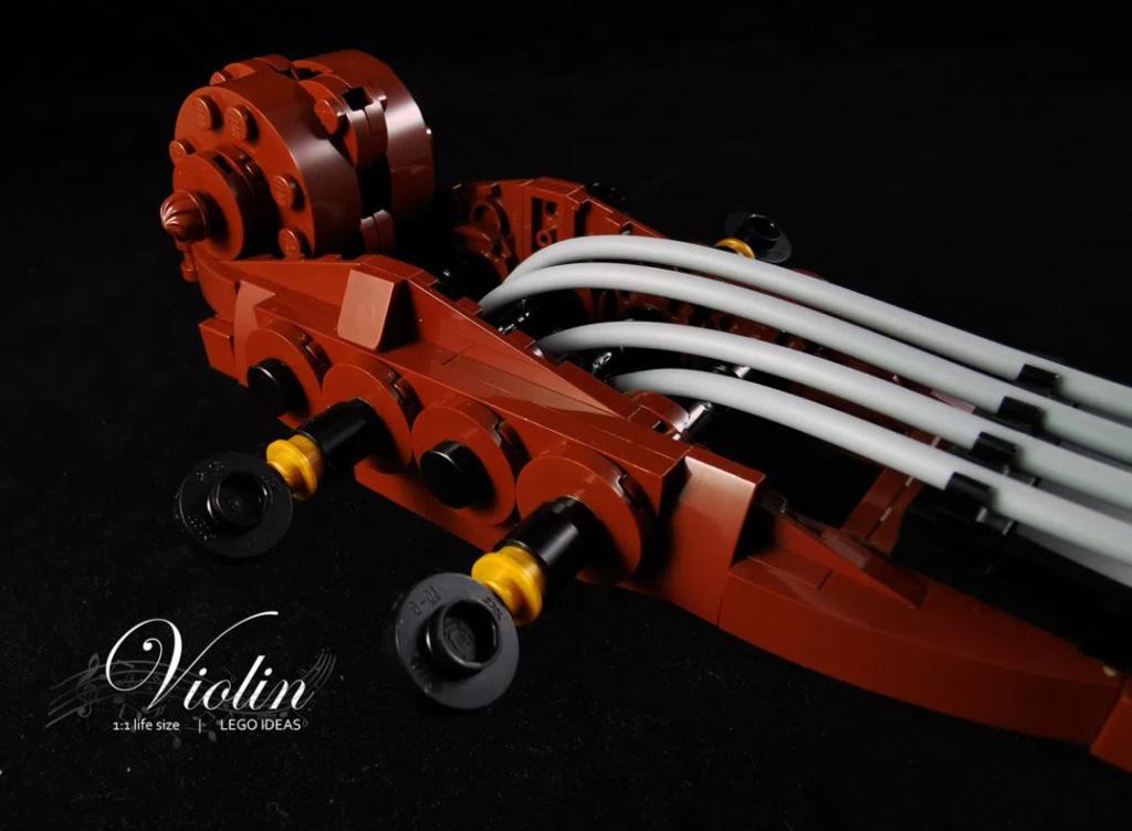LEGO Ideas Entwurf Violin von Samuel Ho Wirbelkasten und Schnecke