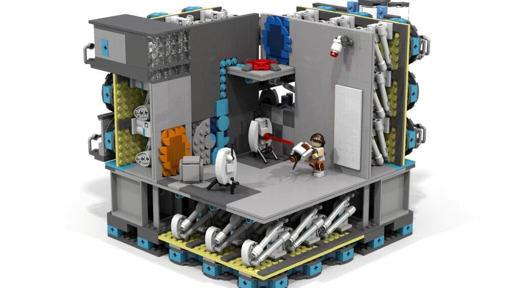 Portal Testkammer mit sichtbaren Innenleben, Chell und zwei Turrets