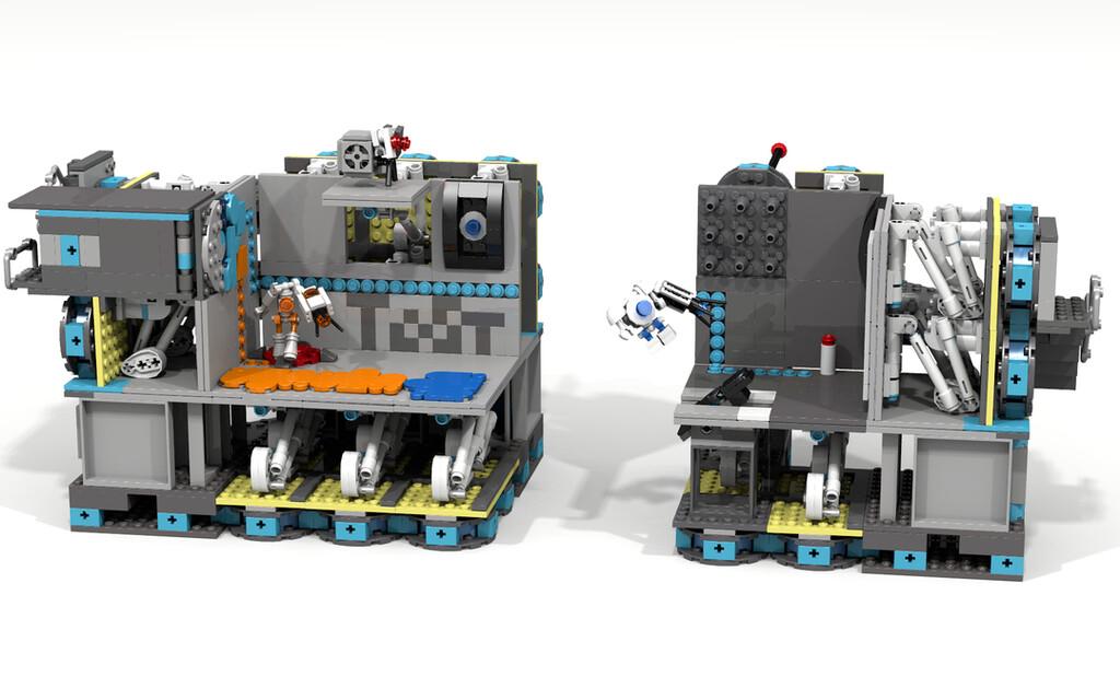 Coop-Spiel-Testkammer aus Portal 2 mit Atlas und P-Body