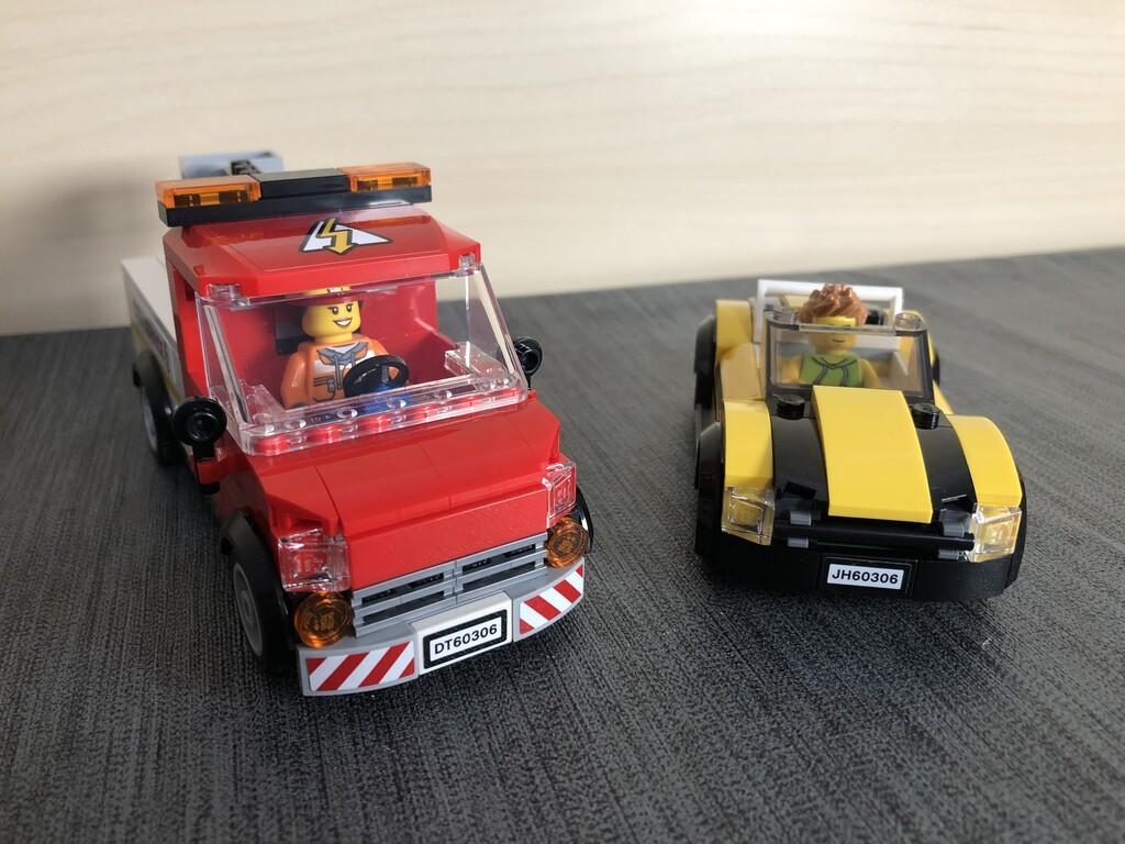 Servicewagen und Sportwagen von vorne