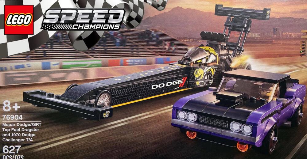 LEGO Speed Champions 76904 Mopar Dodge/SRT Top Fuel Dragster & 1970 Dodge Challenger T/A