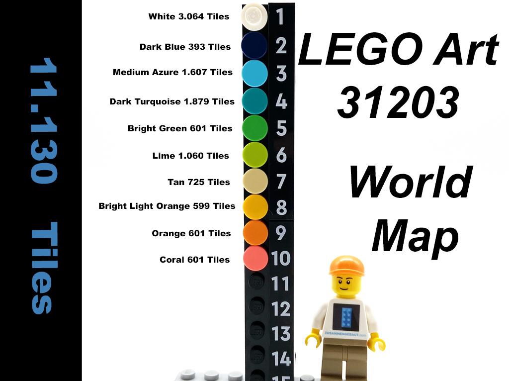 LEGO Art 31203 World Map Anzahl der Fliesen